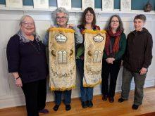 sisterhood book group with torah mantels